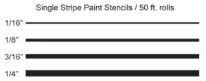 "Single Stripe Stencils - 1/16"", 1/8"", 3/16"", 1/4"""