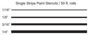 "Single Stripe Stencils - 1/16"", 1/8"", 3/16"", 1/4"""